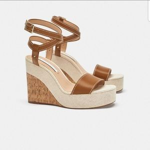 NWT. Zara Brown/Beige wedges shoes. Size 7 1/2.